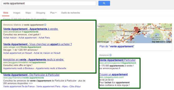un exemple d'Adwords immobilier