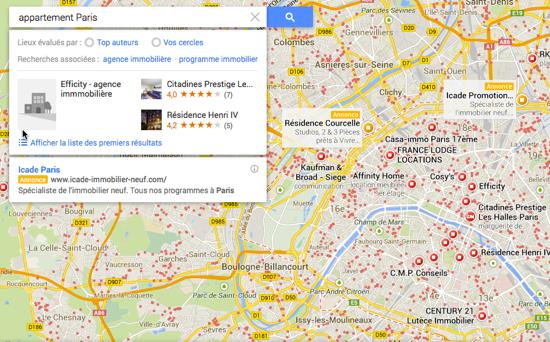 GoogleMaps publicité immobilier