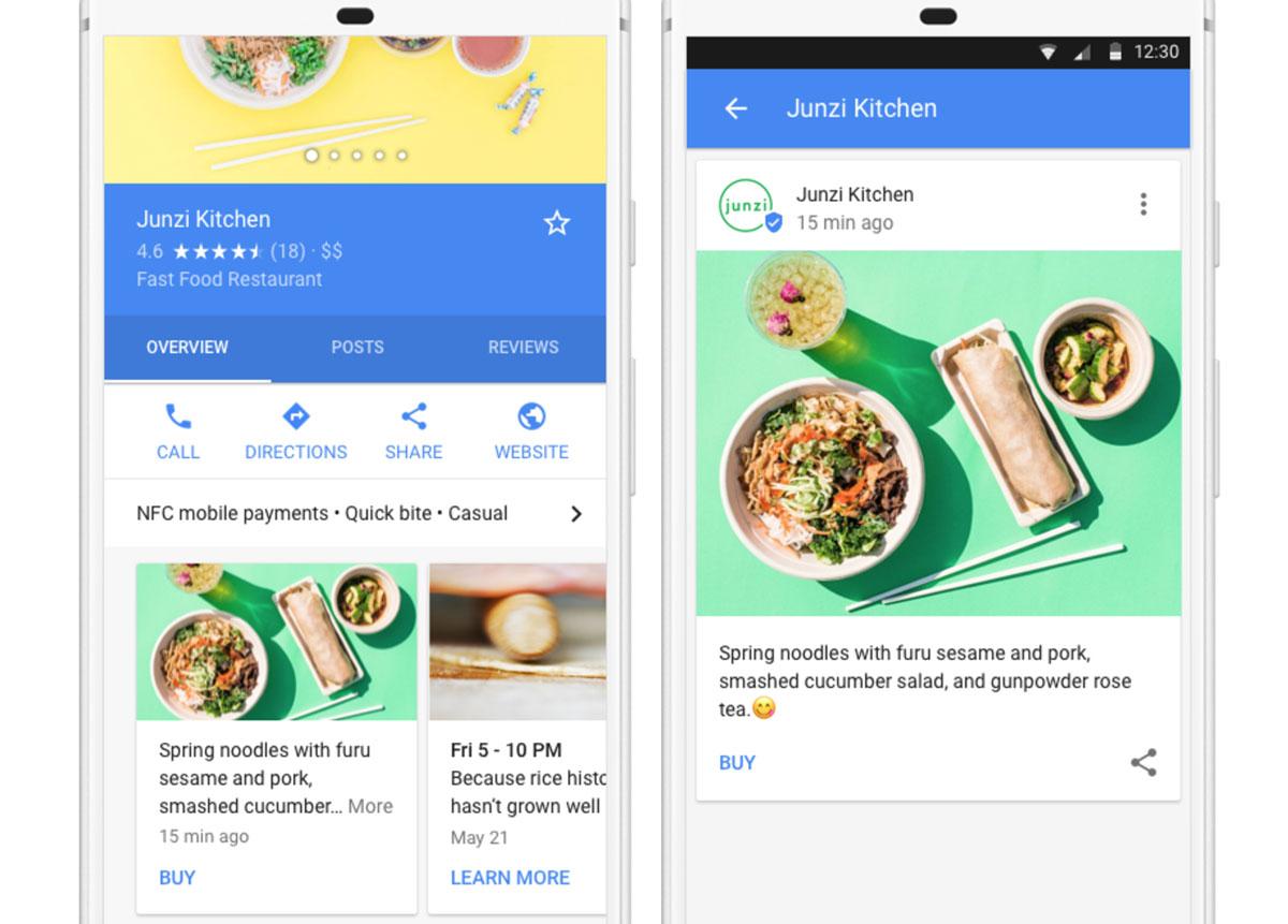 Un exemple de Google posts depuis un terminal mobile