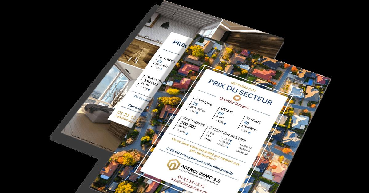 Flyer immobilier prix marche portrait communication social network