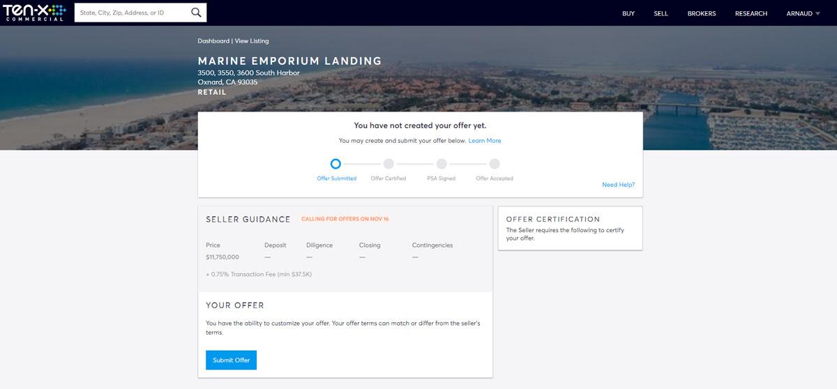 On peut voir l'étape de dépôt d'une offre pour un immeuble de bureau. Toute la transaction se fait en ligne.