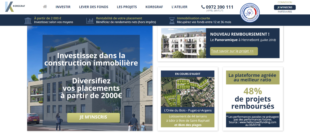 Koregraf Crowdfunding Immobilier Homepage