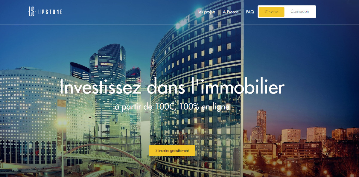 Upstone Crowdfunding Immobilier Homepage