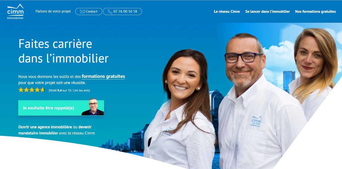 Cimm Immobilier Reseau Mandataire Homepage