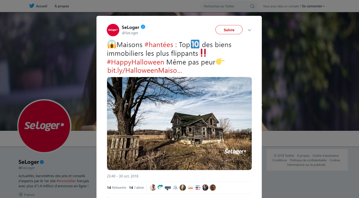 Communication Immobilier Halloween Seloger Exemple