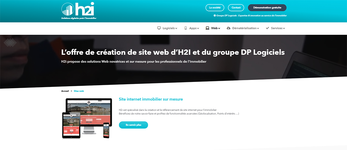 H2i Logiciels Creation Site Immobilier Syndics Administrateurs Biens