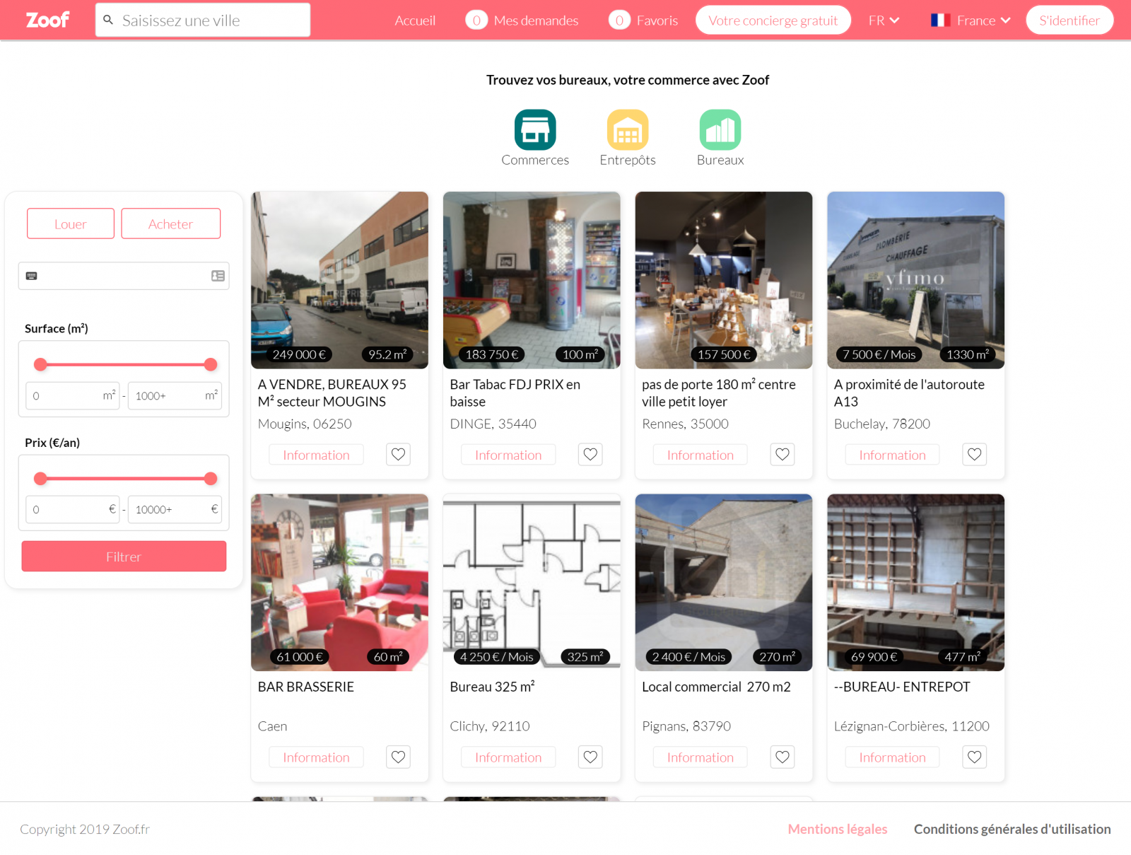 Zoof recherche immobilier entreprise