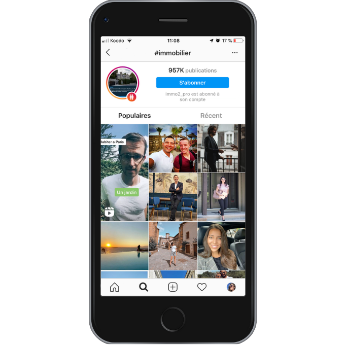 Page Hashtag Instagram Immobilier