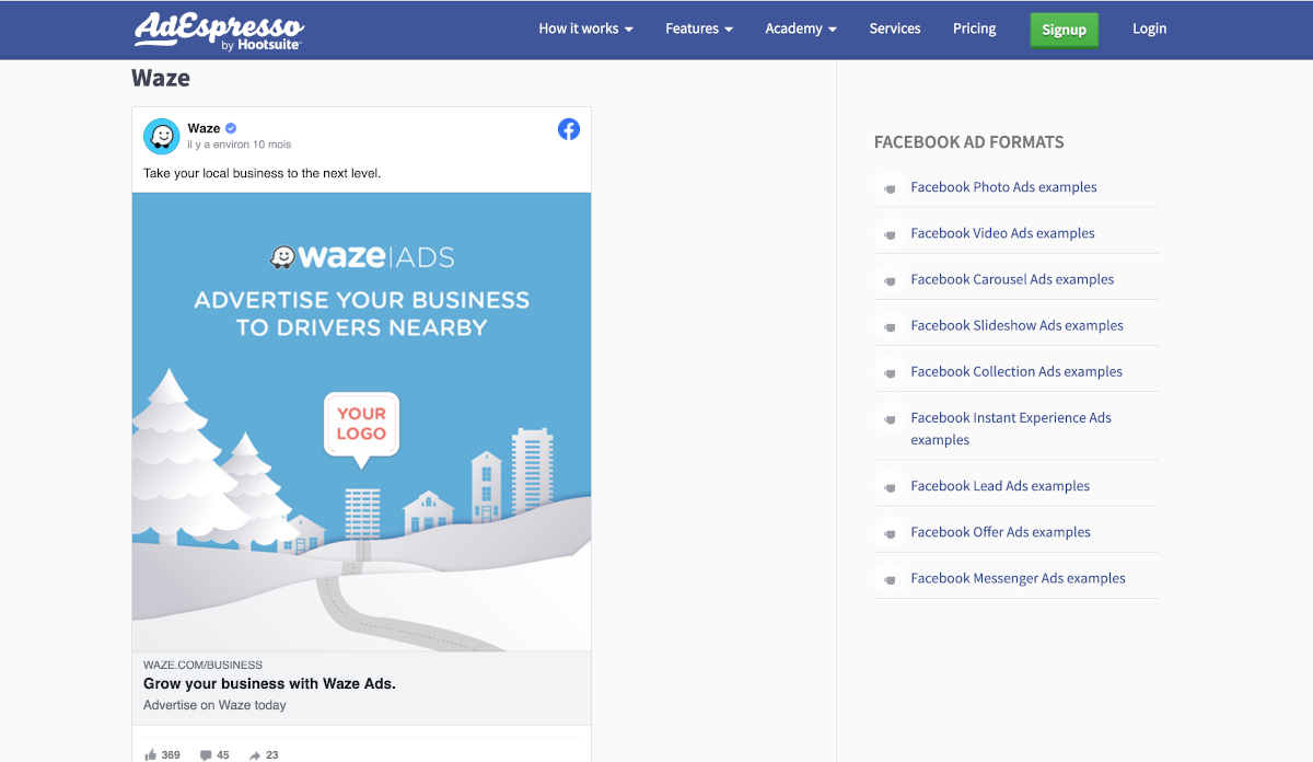 Adespresso Facebook Ads Exemple La Reserve Outils Immobilier