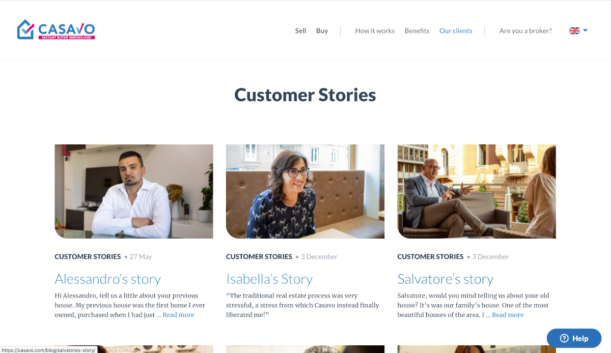 Casavo Customer Stories Avis Clients Site Internet Immobilier