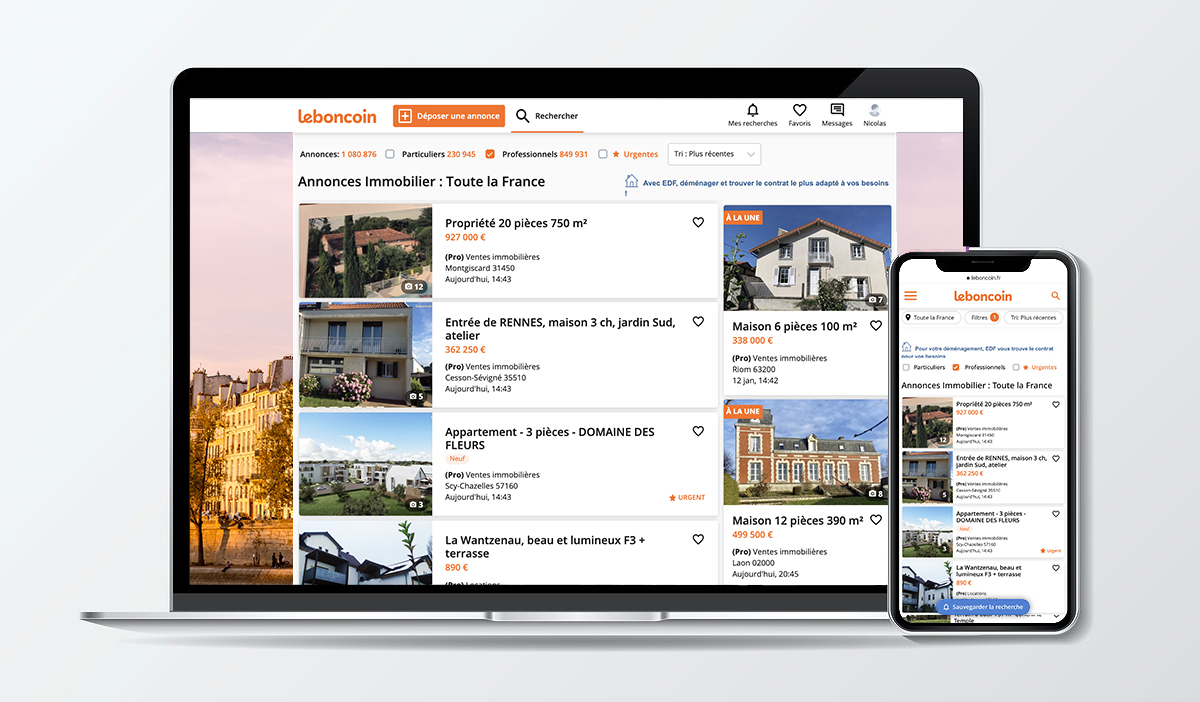 Interface Leboncoin Annuaire Portail Immobilier