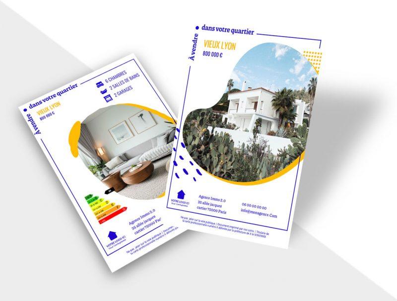 Flyer immobilier - propriété à vendre - illustration pour inspiration