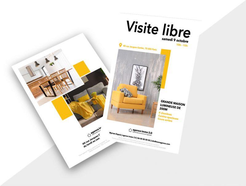 Flyer immobilier pour promouvoir les activités de visite libre
