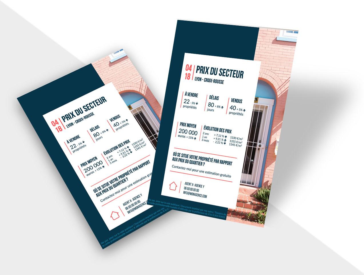 flyers immobilier - prix du marché illustration d'inspiration