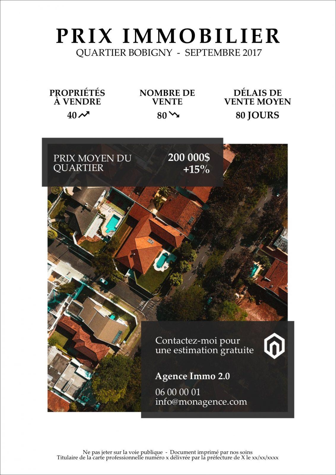 Flyer Prix De Limmobilier Données Du Marché Accroche Prospection Immobilière Comaugmentée