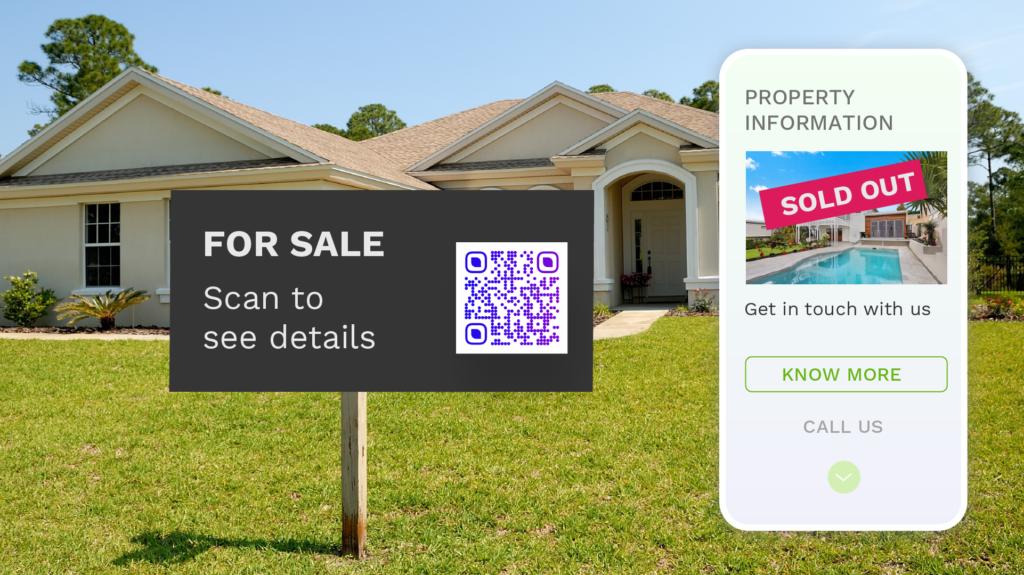 Marketing Immobilier Panneau a vendre QR code
