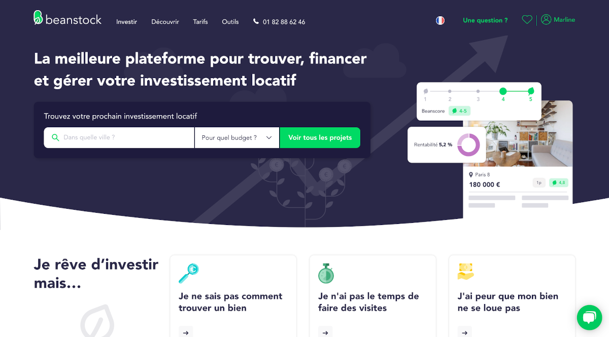 Beanstock Homepage Investissement Locatif Proptech Startup