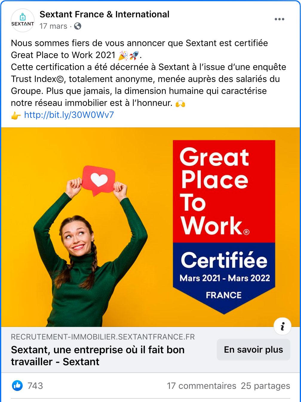 Publication Facebook Sextant France