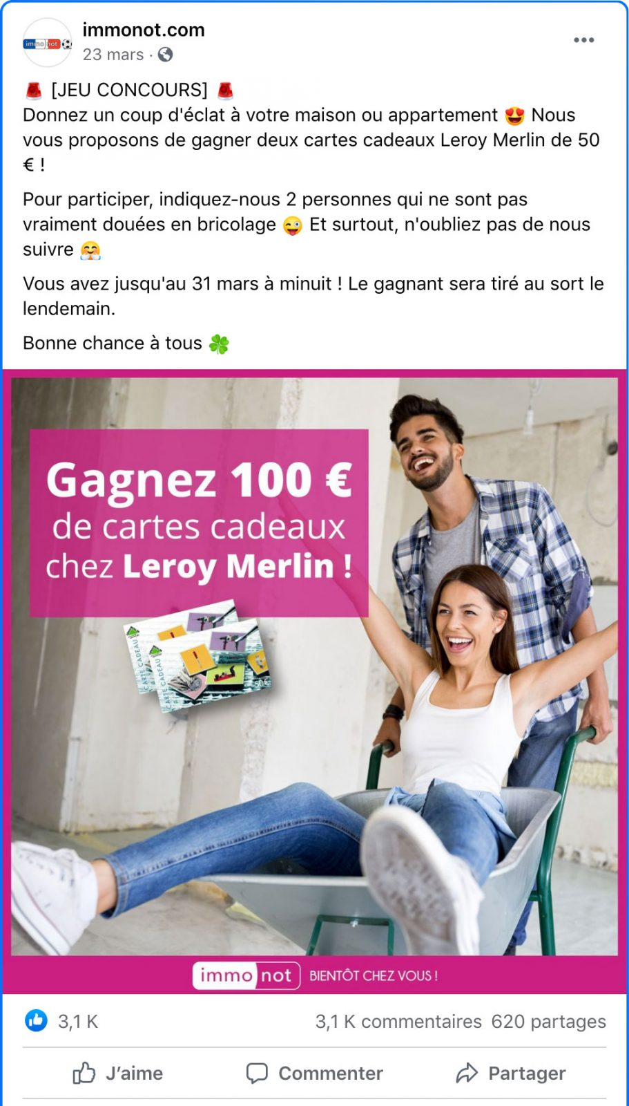 Publications Facebook Immobilier Concours