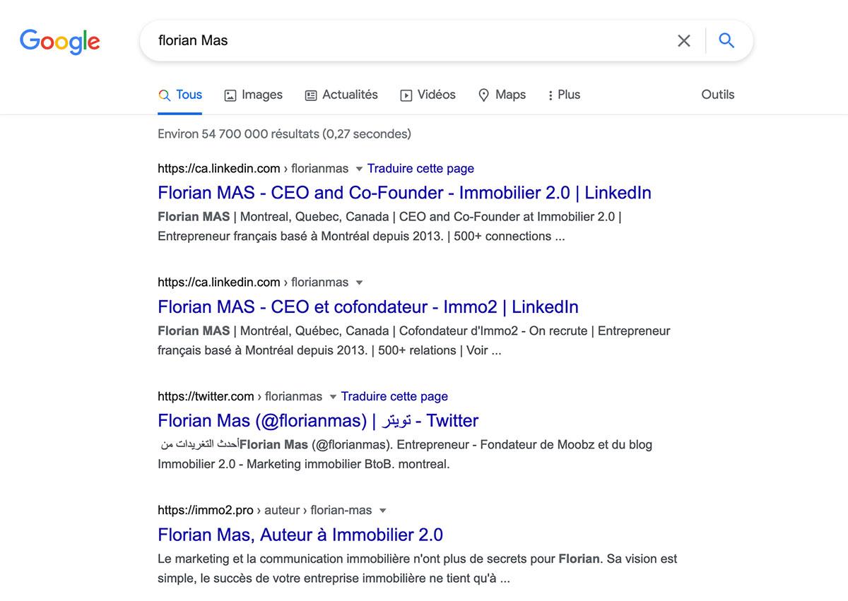 Resultat Google Florian Mas