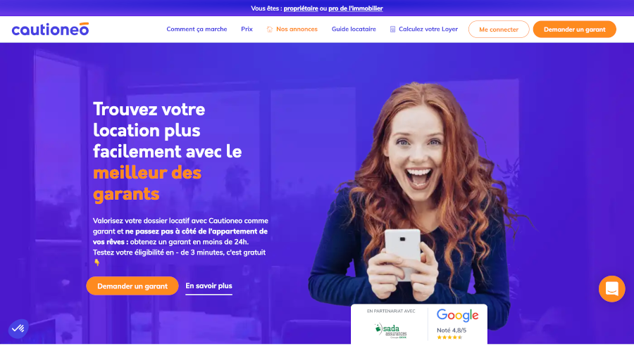 Cautioneo Homepage Branding Immobilier