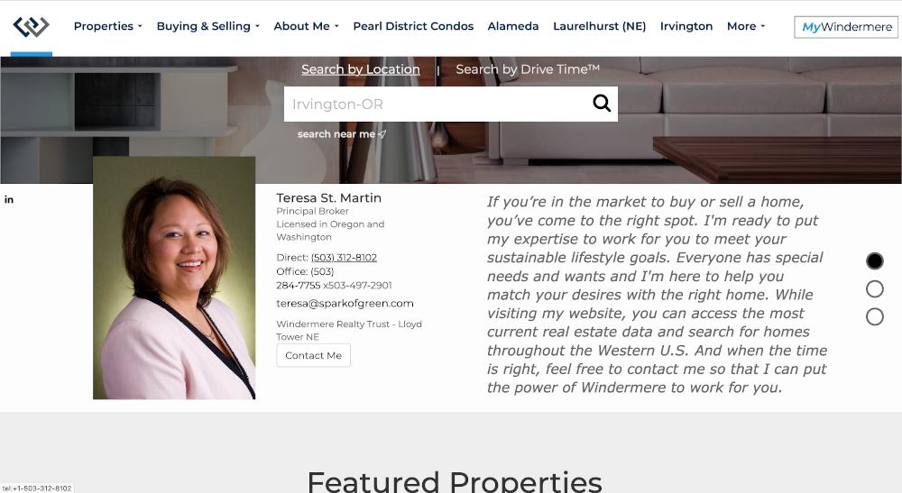 Homepage Teresa St Martin Branding Immobilier