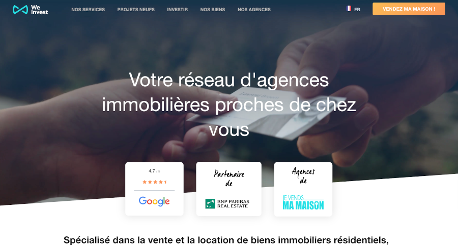 Weinvest Homepage Branding Immobilier