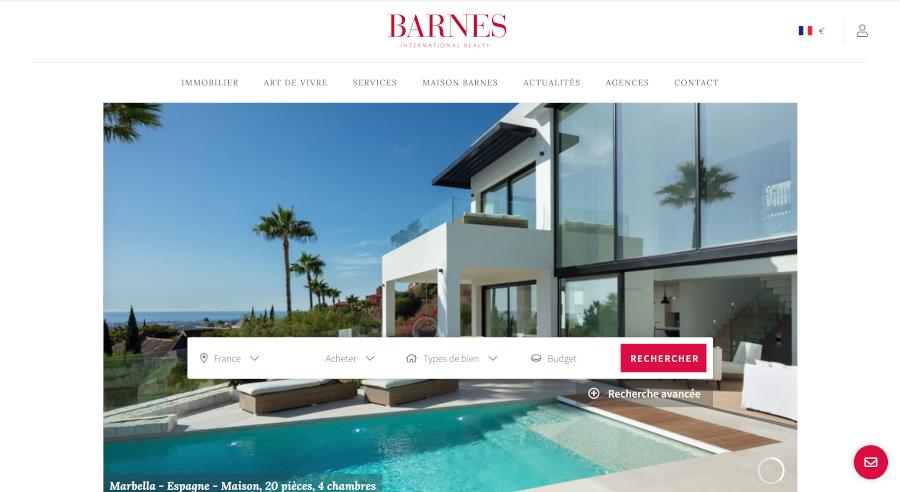 Barnes Homepage Branding Immobilier