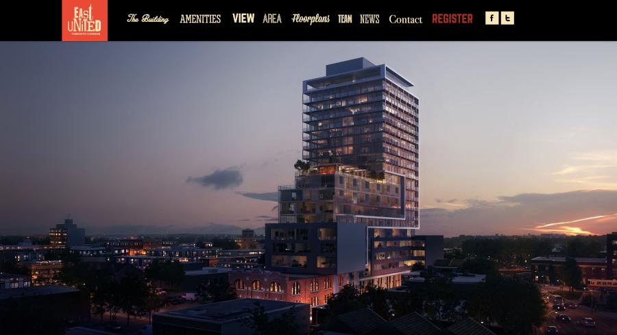East United Toronto Condos Homepage Branding Immobilier