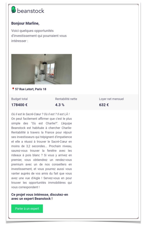 Exemple Mail Investisseur Beanstock Proptech Communication Rentrée Immobilier Septembre
