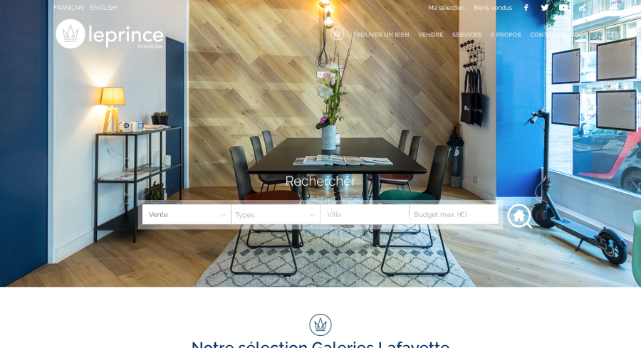 Leprince Immobilier Homepage Branding Immobilier