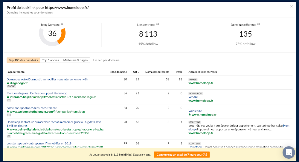 Homepage Backlink Checker Exemple Homeloop Immo2 Seo Outils Referencement Immobilier