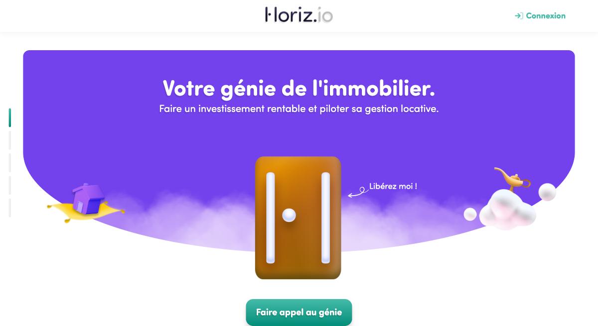 Horiz.io Ex Rendement Locatif Homepage Startup Immobilier Proptech Investissement
