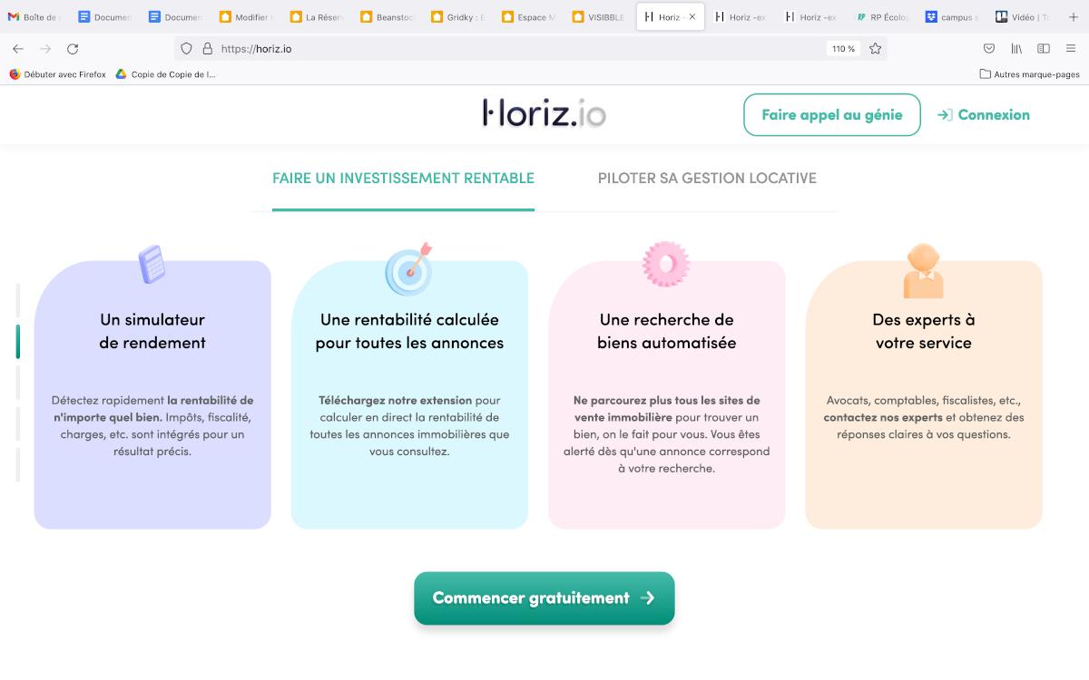 Horiz.io Présentation Des Services Rendement Locatif Investissement Immobilier Startup Proptech Annuaire