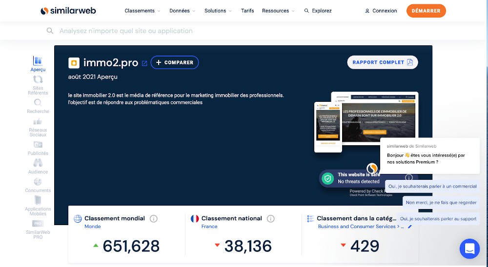 Similarweb Homepage Outil Seo Referencement Immobilier Exemple Immo2